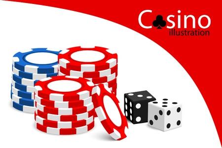 wagers: Ilustraci�n de Casino (algunas fichas en el fondo blanco)