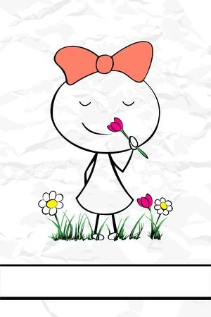 illustration of a cute cartoon girl Vektorové ilustrace