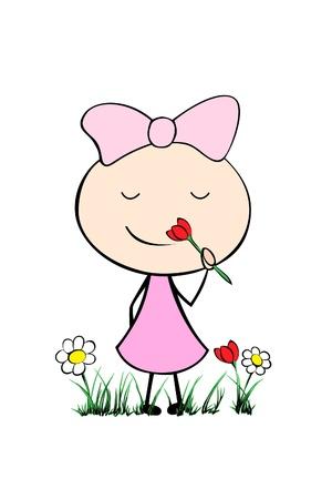 cheerful: illustration of a cute cartoon girl