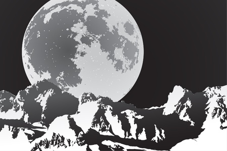 ridges: beautiful landscape (mountains in the moonlight) Illustration