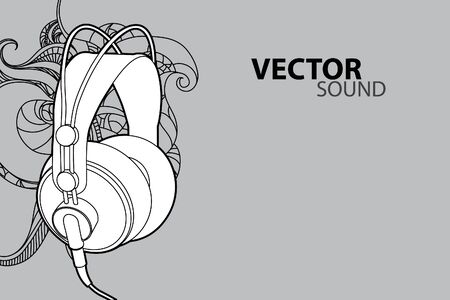 earphones: Vector illustration (headphones on gray background) Illustration