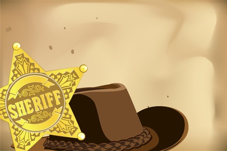 gold vector sheriff star and hat on brown background Vector