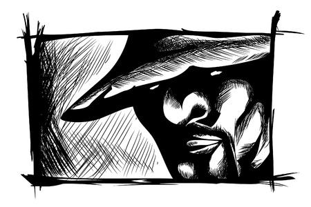 man face close up: vector hand drawn face (close up man face)