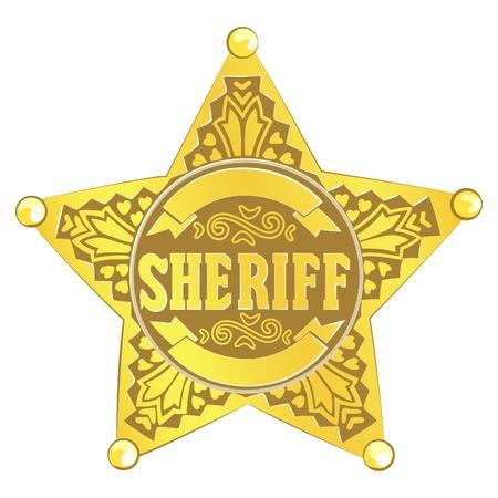 autoridades: estrella de Sheriff de vector de oro sobre fondo blanco