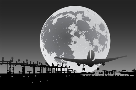 Plane silhouette with full moon on background Vector