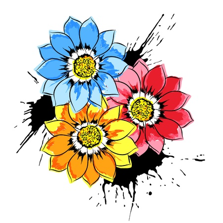 macro flower: Beautiful bright colorful flowers (vector illustration)