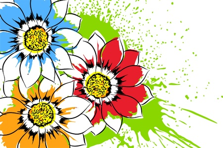 close up: Beautiful bright colorful flowers (vector illustration)