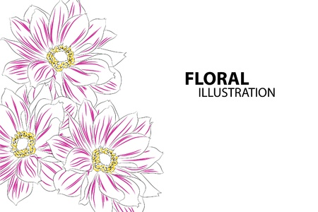 flowers close up: Beautiful floral vector illustration on white background Illustration