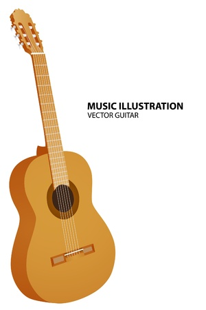 guitar pick: guitar on white background Illustration