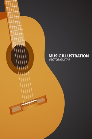 guitar on black background Stock Vector - 10317934