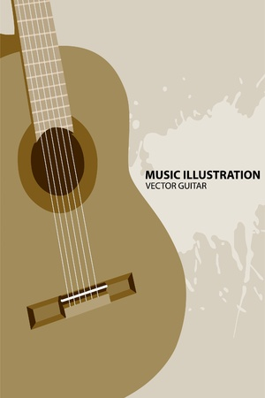 classical guitar: guitar on light background Illustration