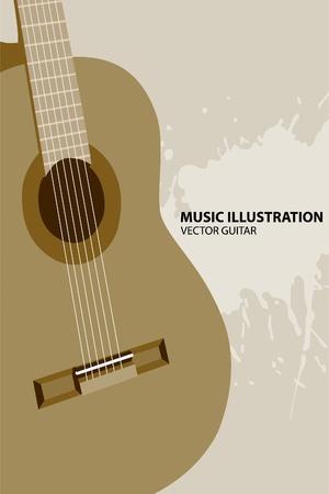 guitar pick: guitar on light background Illustration