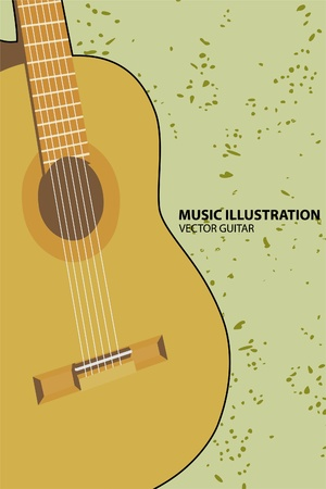 classical guitar:  guitar on green background Illustration