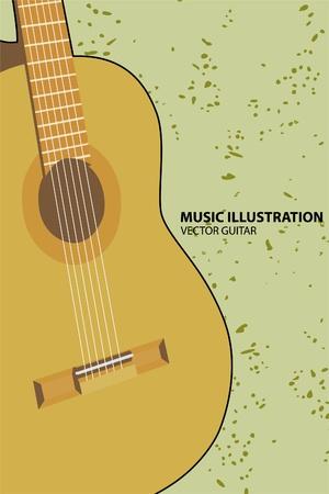 guitar pick:  guitar on green background Illustration