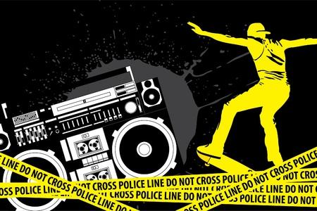 ghetto: illustrazione (elementi urbani su sfondo nero)