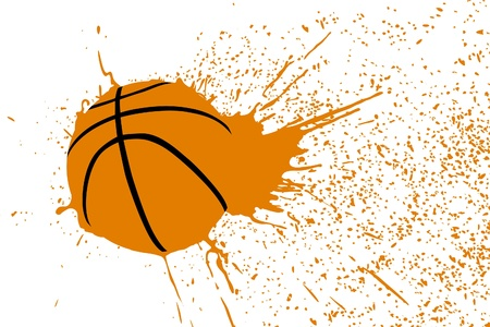 ballon basketball: Illustration (balle de basket-ball avec �claboussures oranges)