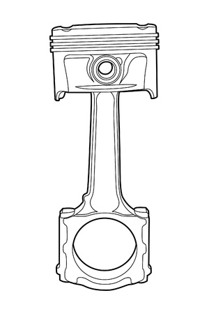 machining: Black outline vector illustration (engine pistons)