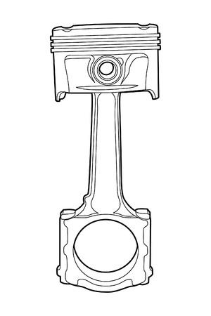 pistones: Ilustraci�n vectorial de contorno negro (pistones del motor) Vectores