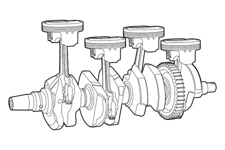 engine pistons: Black outline vector illustration (engine pistons)
