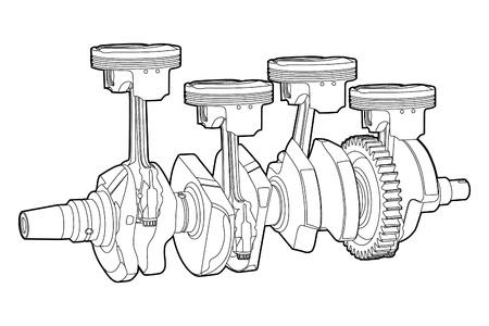 mecanico automotriz: Ilustración vectorial de contorno negro (pistones del motor) Vectores