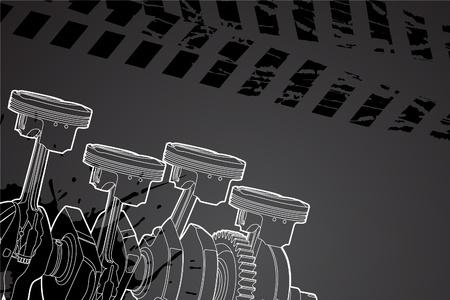 mecanico automotriz: Ilustración vectorial de contorno blanco (pistones del motor)