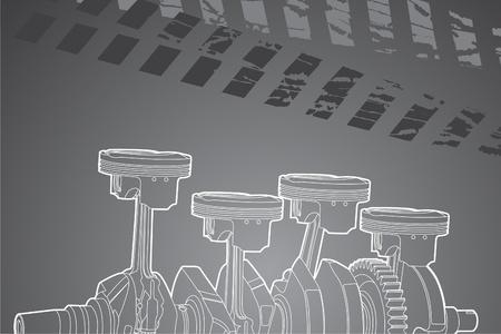 mecanico automotriz: Ilustraci�n vectorial de contorno blanco (pistones del motor)