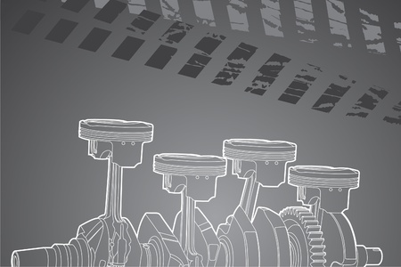 crankshaft: White outline vector illustration (engine pistons)