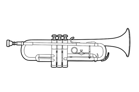 trompeta: Ilustraci�n vectorial de trompeta sobre fondo blanco