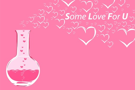 clinical laboratory: Flask with love liquid Illustration
