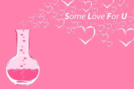 laboratory equipment: Flask with love liquid Illustration