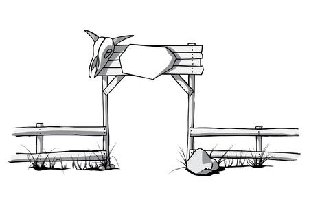 rancho: valla de madera con un cráneo de vaca en la puerta Vectores
