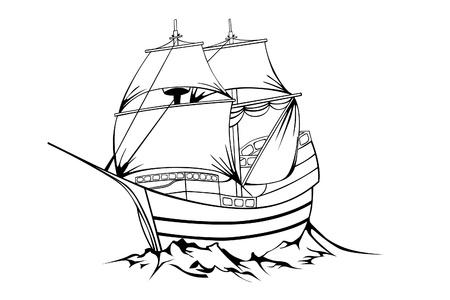 nautic: black sailboat on white background Illustration