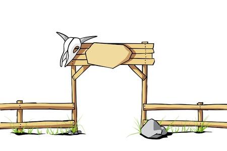 rancho: Fondo de vector Occidental (valla de madera con un cráneo de vaca en la puerta)