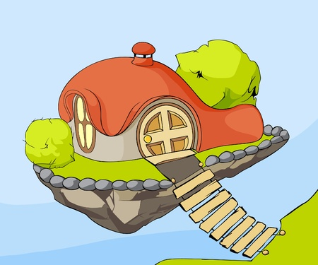 dream land: Vector illustration (Cute house in air)