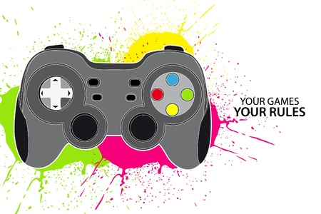leisure games: Vector console or PC joystick on white background