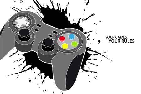 gaming: Vector console or PC joystick on white background