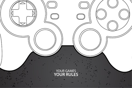 leisure games: Vector console or PC joystick on black background