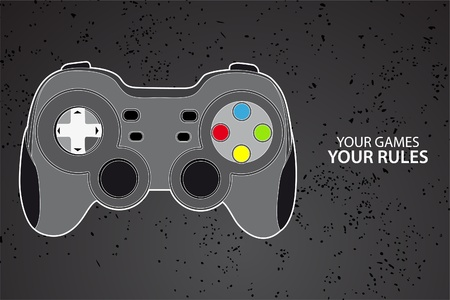 Vector console or PC joystick on black background Vector