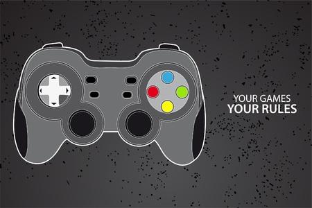 joypad: Vector de la consola o el joystick de PC sobre fondo negro Vectores