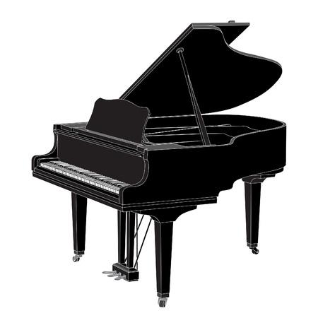 klavier: Vector Klavier auf weißem Hintergrund (Illustration)