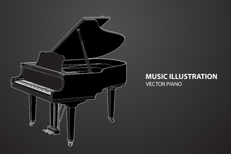 grand piano: Piano de vector sobre fondo negro (ilustraci�n)