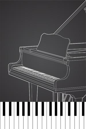 Piano, Vecteur sur fond noir (illustration)