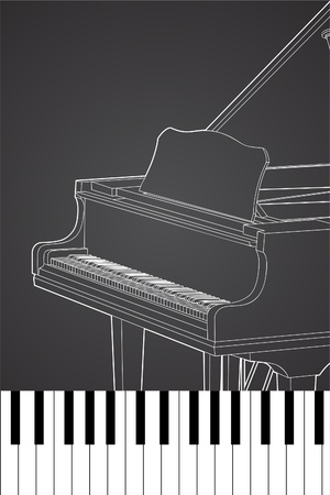 ebony: Vector piano on black background (illustration) Illustration