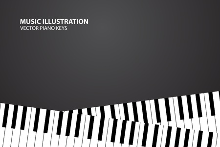 concert grand: Vector piano keyboard on black background (illustration) Illustration