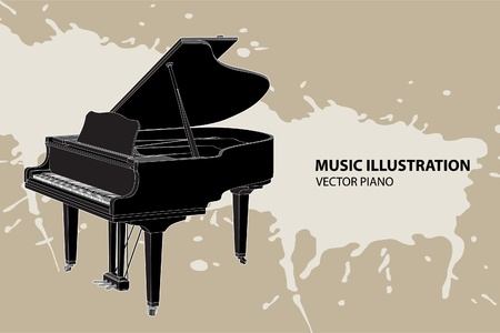 concert grand: Vector piano on light background (illustration) Illustration