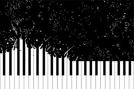 piano de cola: Teclado del piano vector sobre fondo negro (ilustración) Vectores