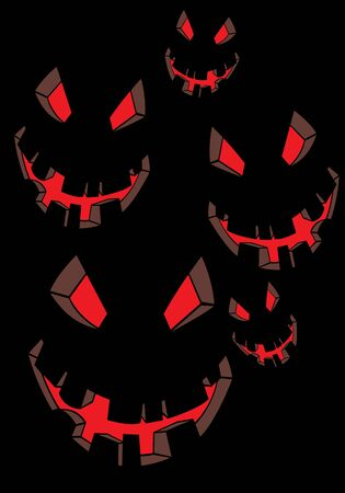 scary face: Vector volto spaventoso su nero (illustrazione di Halloween)