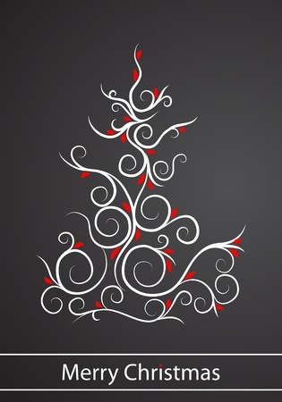 Postcard with christmas tree on black background Vector