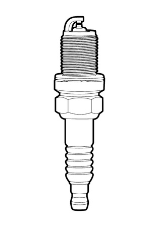 car plug: outline spark-plug on white background