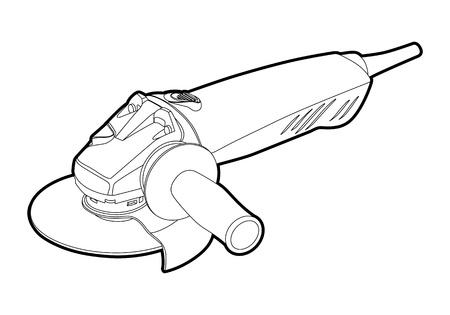 angle grinder: outline angle electric grinder on white background